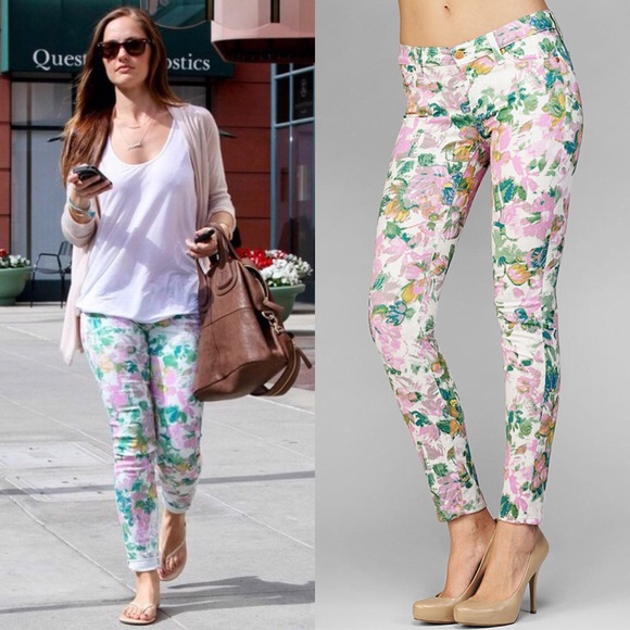 MINKA KELLY 7 For All Mankind Floral Skinny Jeans